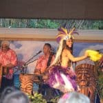Singing and dancing at the luau
