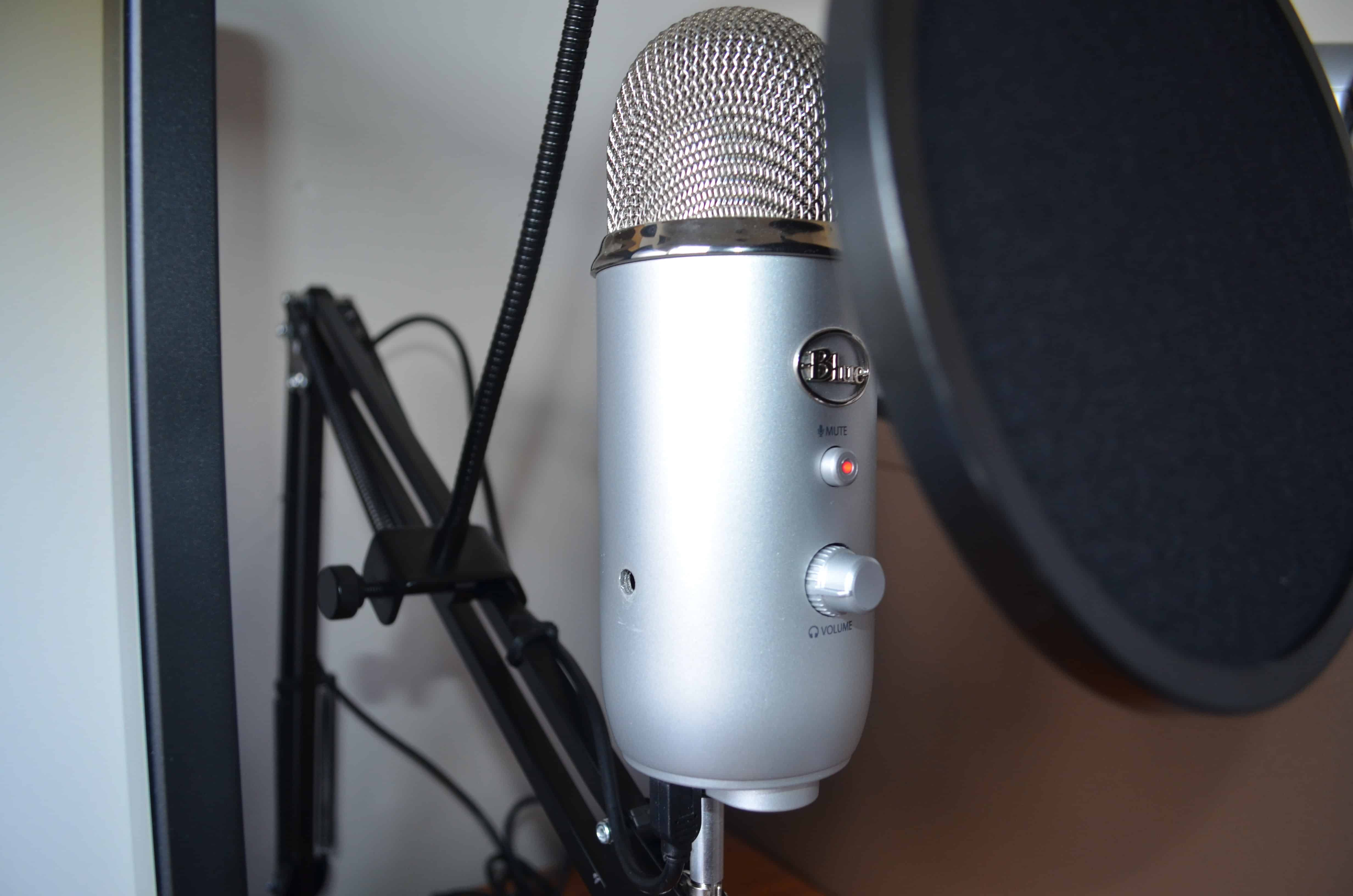 Microphone Boom And Pop Filter For Use With Blue Yeti